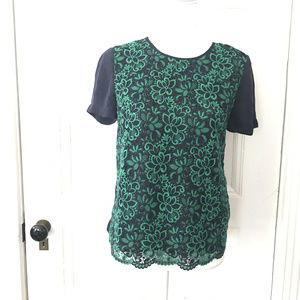 J CRew blue Green Embroidered Front Blouse Top